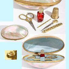 ARGENT nécessaire de couture miniature ancien Nacre Palais Royal Oeuf Ormolu set