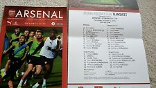 ARSENAL V SWANSEA PROGRAMME AND TEAM SHEET 15TH OCT 2016