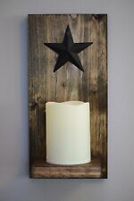Rustic Candle Wall Sconce with Included 4 inch LED Candle and Black Metal Star