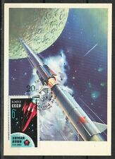 Soviet Russia 1962/77 Space Maxi Card 1st Rocket Earth-The Moon Vertical