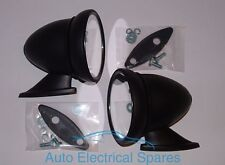 PAIR CLASSIC CAR MATT BLACK Racing Style Bullet Wing Mirrors for JAGUAR TRIUMPH