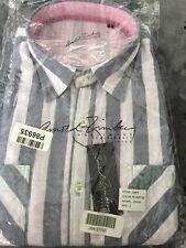 NEW Arnold Zimberg  Dress Shirt Blue/Pink Striped Large