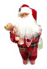 "Santa's Workshop Pajama Clauses Figurine, 15"" Tall, Red/White"