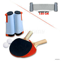 Portable Retractable Table Tennis Net Kit Ping Pong Set 2 Bats For Any Table