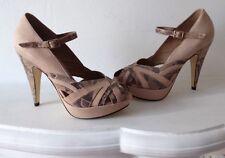 Topshop Rosa Impresión Serpiente Cuero Peep Toe Zapatos De Tacón Zapatos de plataforma EU38 UK5 Nuevo FAB!