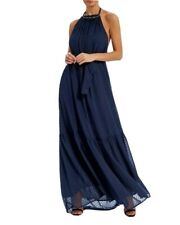 Forever Unique Navy Halter-Neck Maxi Dress £129 Beaded Neckline Size 10 BNWT