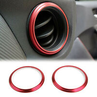 2x Car Aluminum Air Outlet Trim Cover Sticker Red Fits Subaru BRZ Toyota 86 RD A