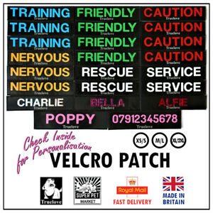 Dog Harness Tag Label Truelove Custom Name VeIcro Patch Personalised Flag Puppy