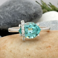 Simulated Paraiba Tourmaline 925 Sterling Silver Ring Jewelry Size 6-9 DRR1105_F