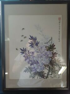 Antique Chinese Lilac And Bumblee Watercolor Painting Signed By Artist 25x19