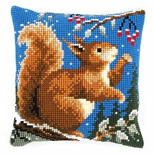 Squirrel in Winter  :Vervaco Chunky Cross Stitch Cushion Kit - PN0145052
