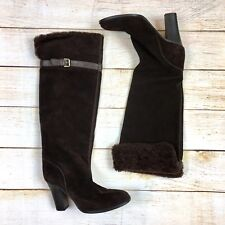 J Crew Womens Sz 7 Tall Brown Suede Heeled Boots Shearling Cuff Knee High Italy