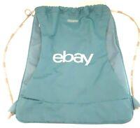 American Tourister Voyager Cinchpack eBay Logo Blue On Teal 16.5 L 18 H 4 W NWOT