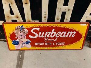 "Vintage Sunbeam Bread Little Miss Sunbeam Metal Sign 24"" x 12"" GAS OIL SODA COLA"