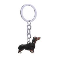 Dachshund Keyring Black and Tan Sausage Dog Chocolate Doxie Bag Charm Gift UK