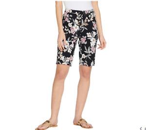 Isaac Mizrahi Live! 24/7 Stretch Tropical Floral Bermuda Shorts-A306840-NEW