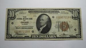$10 1929 Chicago Illinois IL National Currency Bank Note Bill! Federal Reserve!