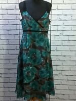 Phase Eight 100% Silk Blue Brown Purple Floral Dress Size UK 14 / US 12