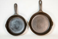 """Pair of Wagner Ware #5 & #6 Cast Iron Skillets 8"""" & 9"""" Stripped and Restored"""