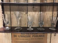 Lot de 5 Verres Soufflé a Absinthe Ancien XIXeme Antique French Glass