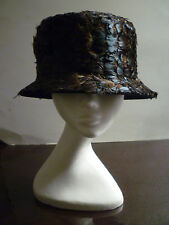 NWT MAKINS Wool Structured Hat Covered w/ Genuine Feathers in Green/Brown Shades