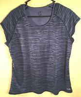 C9 Champion Duo Dry Shirt Womens XXL Gray Black Short Sleeve Stretch Athletic