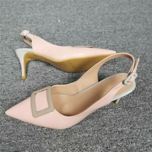 Womens High Heels Sandals Pointed Toe Slim Sexy Simple Slingbacks Stiletto Shoes