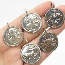 925 Sterling Silver Lot of 5 Assorted Zodiac Sign Pendants