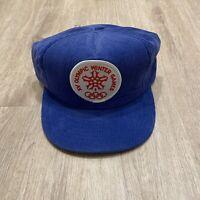 Vintage Calgary 1988 XV Winter Olympics Snapback Hat Blue Corduroy Canada Cap