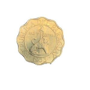 1953 Paraguay 50 Centimos Lion Foreign Coin Scallop Edge World Coin KM 28