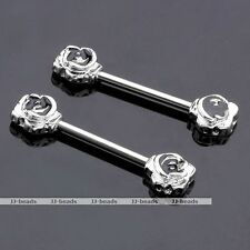 Vintage 14G Stainless Steel Nipple Ring Barbell With Rose Flower Body Piercing