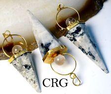 Gold Plated Rainbow Moonstone Cone w/ Crystal Ball Top Pendant (CN10DG)