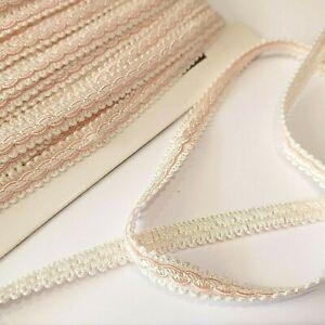 3 metres trim Braid satin CRAFTS sewing pink/white 12MM WIDE