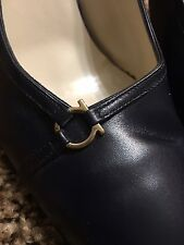 SHOES WOMEN SALVATORE FERRAGAMO FLORENCE SLING BACK HEELS Dark Blue SIZE 9 2A