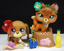LITTLEST PET SHOP #807 RED FOX & #808 HOUND DOG COMPLETE ROPE TOY ACCESSORIES