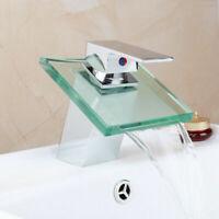 Deck Mount Bathroom Waterfall Glass Spout Basin Vessel Sink Mixer Faucet Taps