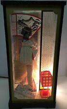 Vintage Geisha Light Up Box Kimono Lotus Flower Mirror Lamp 50's Japan Eames Era