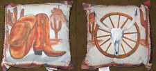 """Western Icons Cowboy Boots/Hat/Longhorn Indoor/Outdoor 19"""" Pillow ~ Climaweave"""