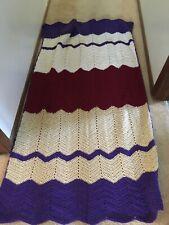 Hand Knitted by Nana - Beautiful Blanket/Throw ~ Purple /burgundy/ivory 40x68�