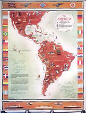 ORIGINAL Vintage Airline Travel Poster PAN AM United Fruit SOUTH AMERICAS MAP