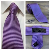 Frank Theak Roskilly London 100% Pure Silk Mens Pink Blue Striped Neck Tie - NEW