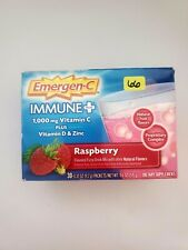 Emergen-C Immune Plus Raspberry-30 Packets 1000mg Vitamin C + D +ZINC  Exp 9/21+