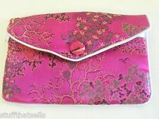 "Brocade Pouch w Zip/Snap 5.50"" x 4"" - Hot Pink"