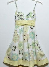 XOXO Brand Ladies Pale Yellow and White Floral Print Cotton Juniors Dress - Sz 5