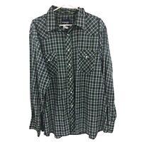 Wrangler Mens 2XL XXL Green Plaid Western Pearl Snap Button Up Shirt Adult