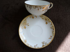 VINTAGE HAND PAINTED NIPPON CUP & SAUCER/ MARUKI/ GOLD & WHITE