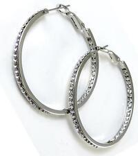 """Silver Hoop Earrings 1 1/2"""" Clear Crystal CZ Inside Outside Metal Alloy"""