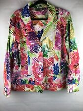 Chicos Women's Size 3 (XL) Blazer Colorful Floral Print Pockets Long Sleeve Cute