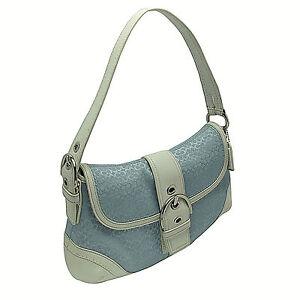 Vtg Authentic Coach Mini Soho Hobo Flap Lt Blue Signature W/White Leather 10926