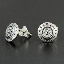 New Genuine Pandora Signature Stud Earrings S925 ALE Free Pouch